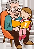 Opa 60 jaar voorlezen kleinkind