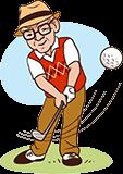 Opa 70 jaar speelt golf