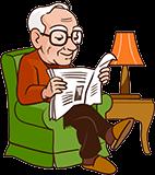Opa 80 jaar leest krant