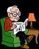 Opa 75 jaar leest de krant