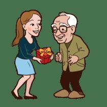 eigen illustratie opa met meisje en cadeau