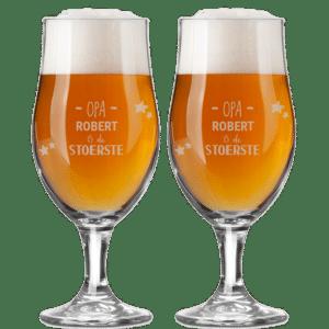 Cadeau voor Vaderdag voor Opa - bierglazen met eigen naam