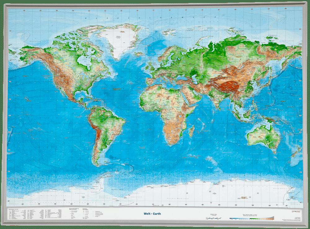 3D wereldkaart met hoogteverschillen