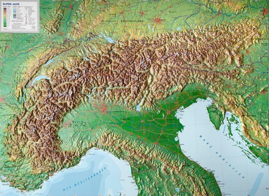 De grote reliëfkaart van het Alpengebied