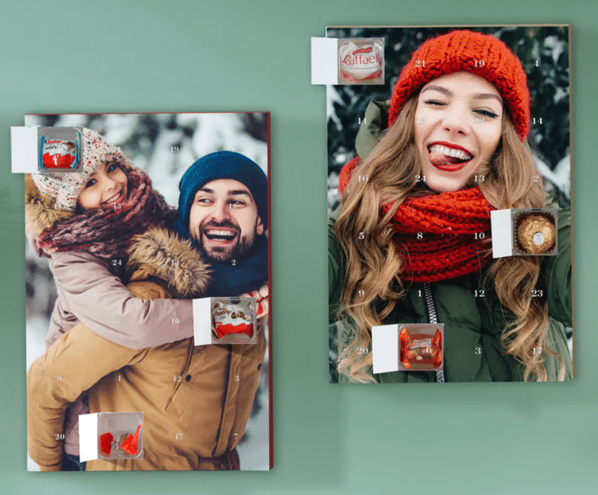 adventskalender met foto en chocolade
