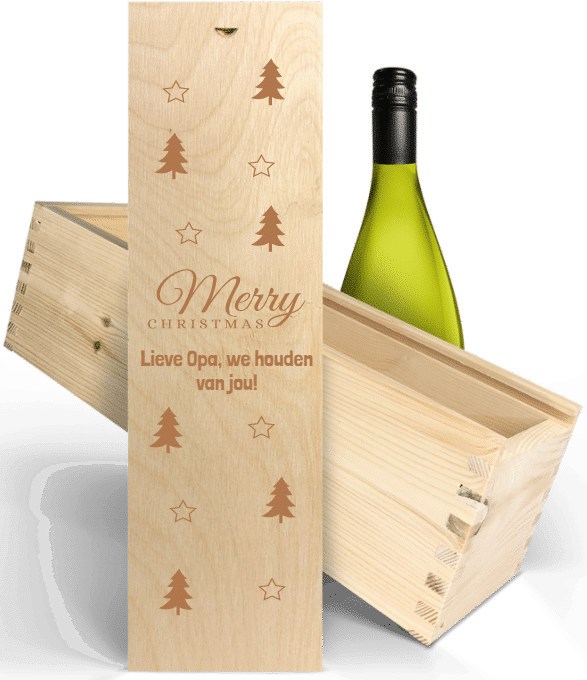 wijn gegraveerde wijnkist - cadeau kerstmis voor opa