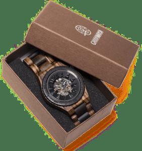 kinetisch houten horloge - cadeau opa 70 jaar