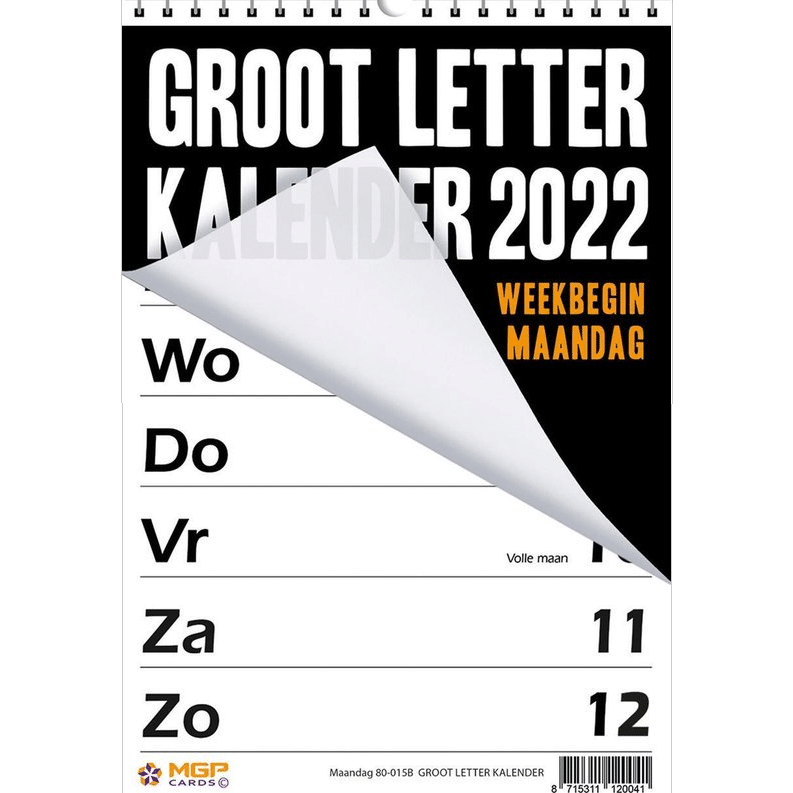 Kalender met extra grote cijfers en letters