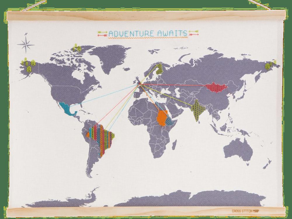 cadeau voor een reisliefhebber - wereldkaart borduren
