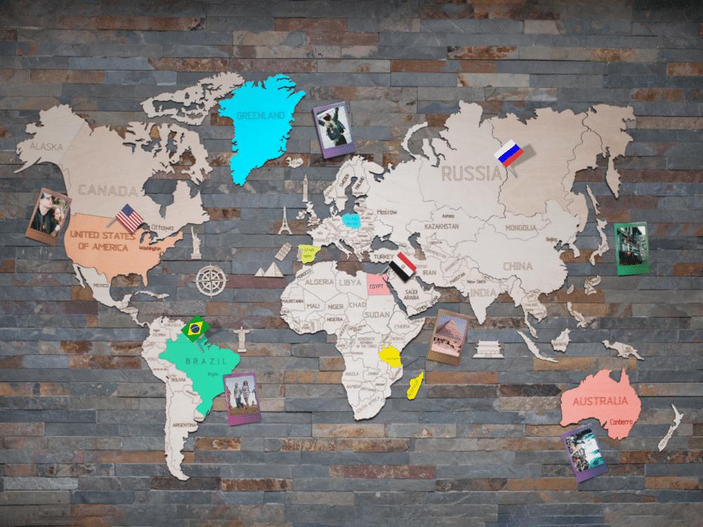 mooi cadeau voor opa - houten wereldkaart puzzelstukken muur