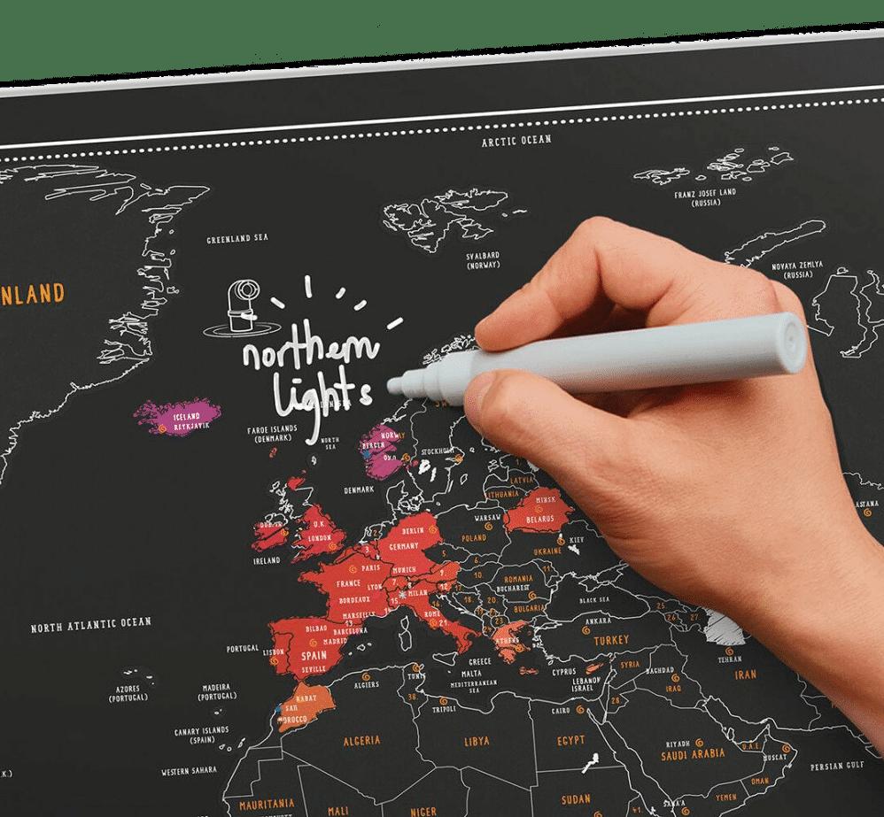 scratch map - met krijtpen