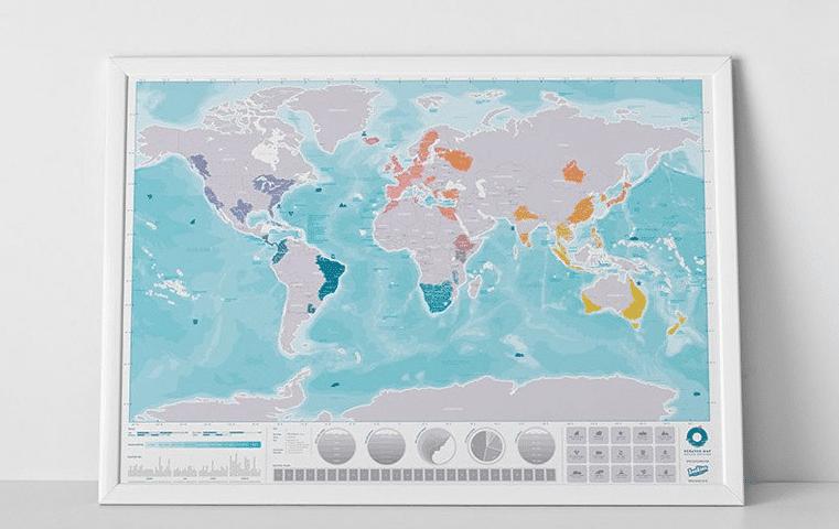 kraskaart van de wereld - mooi cadeau voor opa