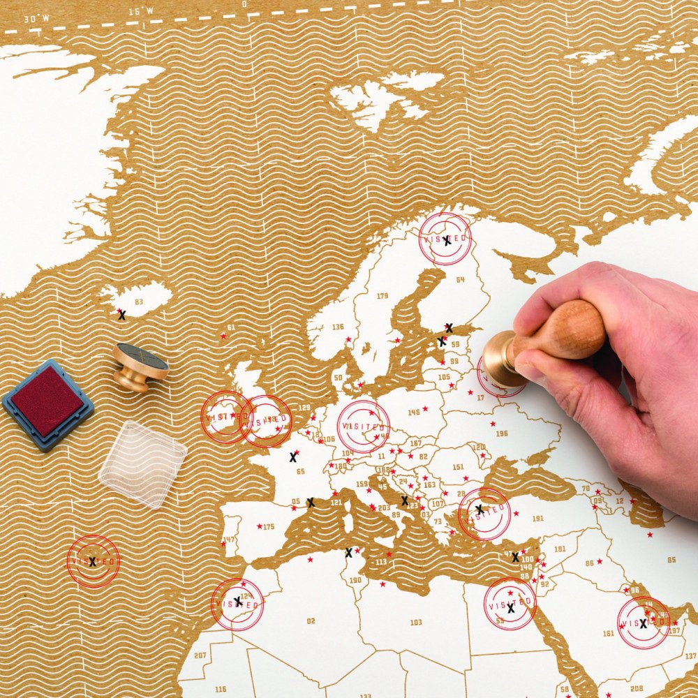 stempelen wereldkaart - cadeau wereldreiziger