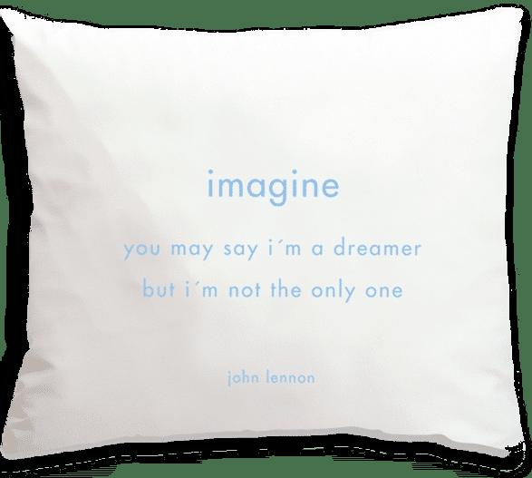 Kussensloop met tekst Imagine - cadeau voor Beatles liefhebber