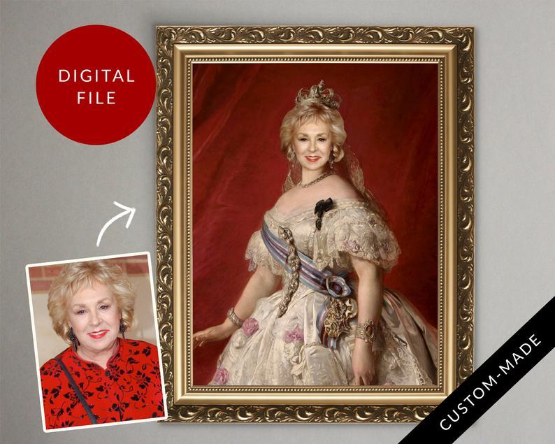 portret van foto - cadeau vrouw 75 jaar